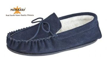 Men's Suede Moccasins Wool Lining & Hard Sole NAVY